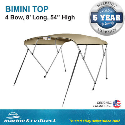 "New Bimini Top Boat Cover 4 Bow 54"" H 85"" - 90"" W 8 ft. Long Beige"