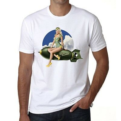 Army pin-up fly Blonde bombshell, Men's tee,White tshirt 100% Cotton