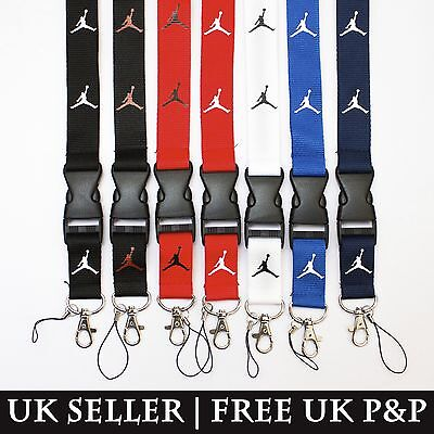 Nike Air Jordan Lanyard Keychain Keyring ID Holder Badge Black White Red