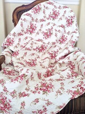 Shabby Chic Vintage Rose 100% Cotton Quilted Throw