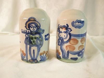 M A Hadley Large Pottery Salt & Pepper Shakers cow and farmer Hand Painted