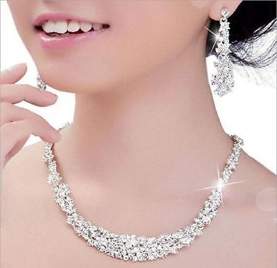 Silver Diamante Wedding Bride Bridal Necklace Earrings Jewellery Set Prom Party