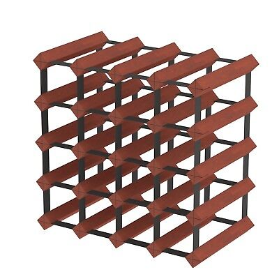 20 Bottle Timber Wine Rack - Dark Mahogany - Fully Assembled