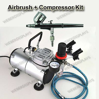 Pro One Double-Action Airbrush & Compressor Kit Dual-Action Air Brush Set Reg...