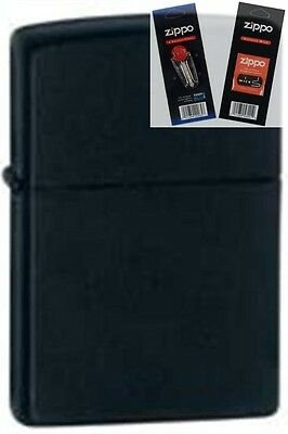 Zippo 218 black matte Lighter with *FLINT & WICK GIFT SET*