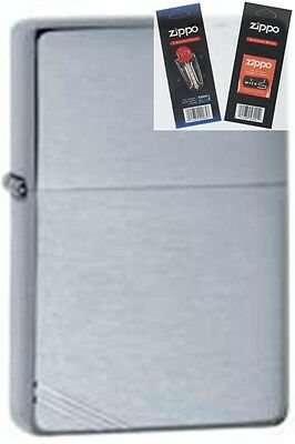 Zippo 230 vintage brushed chrome Lighter with *FLINT & WICK GIFT SET*