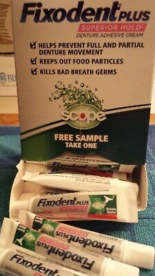 25 Tubes Fixodent Plus Superior Hold Adhesive Cream .35 oz Food Seal with Scope