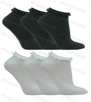 Girls Trainer Socks 3 Pairs Childrens Ladies Lace Top Plain Ankle Back To School