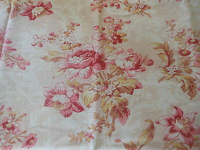 Antique French Pink & Mustard Shabby Floral Cotton Fabric
