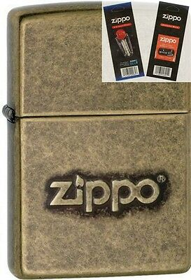 Zippo 28994 stamped logo antique Lighter with *FLINT & WICK GIFT SET*