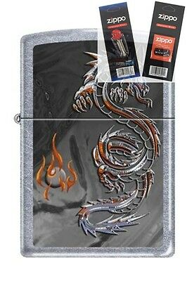 Zippo 3538 Dragon and Flame Lighter with *FLINT & WICK GIFT SET*