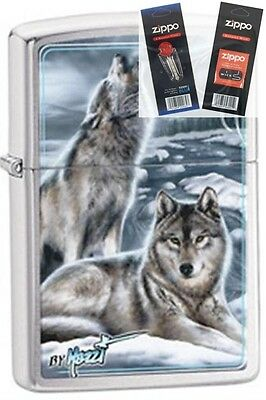 Zippo 28002 mazzi winter wolves Lighter with *FLINT & WICK GIFT SET*