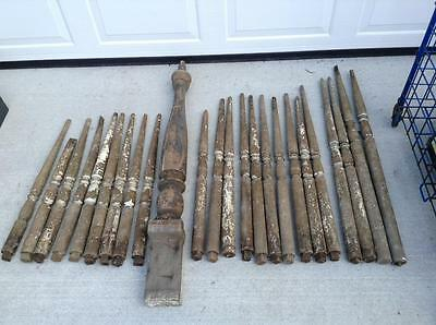 Antique Wooden Staircase Post and 23 Spindles   Railings  Balusters