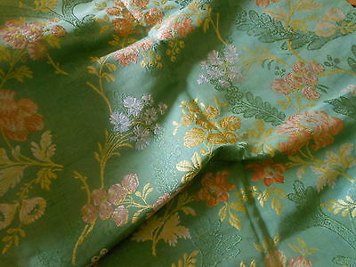 Antique French or Italian Floral Silk Brocade Fabric ~ Apple Green ~ exquisite