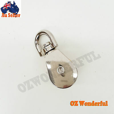 """20mm 3/4"""" Double Pulley Swivel Eye Kirsite Wheel Block Snatch Rope Pully Lifting"""