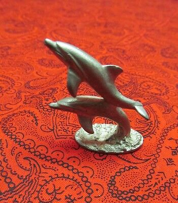 Beautiful Vintage Spoontiques Pewter Dolphins Figure Pp244