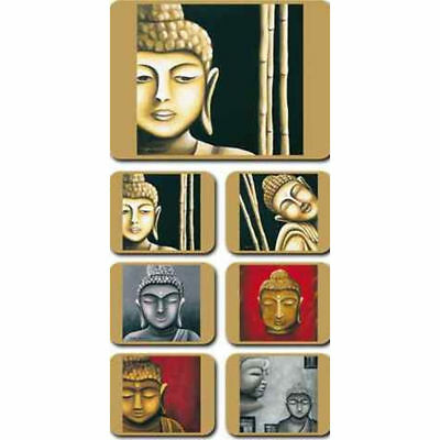 Buddhas - Set of 6 Placemats and Coasters Cork Back Zen Monk