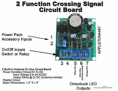 2 X HO Scale Railroad Crossing Signals 2mm LED made + Circuit board