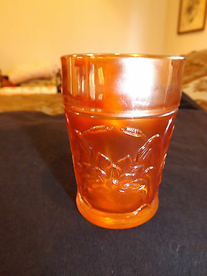 """Vintage Northwood Carnival Glass Tumbler with Pond Lilly & Cattails 4"""" Tall"""