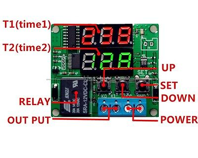 12V Digital cycle timing delay Time Timer relay Module 0-999s 0-999min 0-999h