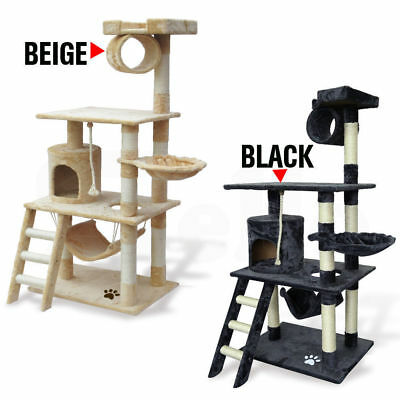 PaWz Cat Scratching Post Tree Gym House Scratcher Pole Furniture Toy 1.41M BLACK