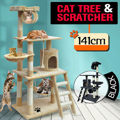 PaWz Cat Scratching Post Tree Gym House Scratcher Pole Furniture Toy 1.41M BEIGE