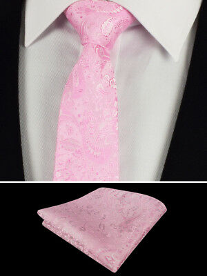 Mens Pale Pink Floral Tie Silk Set Paisley Wedding Square Napkin Hanky 115