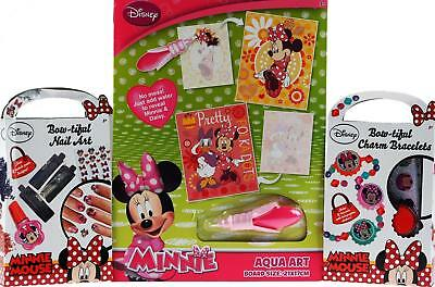 Minnie Mouse 3 Piece Charm Jewellery, Nail Art Beauty, Aqua Art Gift Set