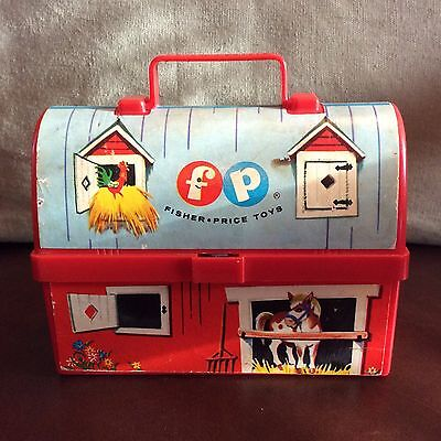 Vintage Fisher Price Toy Lunch Kit #549 Barn Lunch Box No Thermos