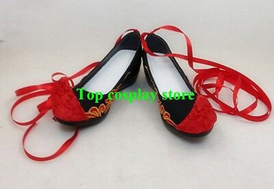 LOL the Nine-Tailed Fox Ahri Cosplay Shoes Red Shoes Custom made #LOL022