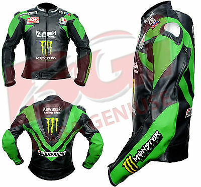 Motorbike, Motorcycle Racing Motogp Kawasaki Green Leather Jacket ,Red,white etc