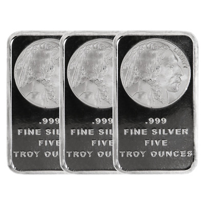 Lot of 3 - 5 Troy Oz Buffalo .999 Fine Silver Bar Sealed
