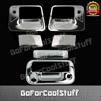 FOR FORD F-250//F-350//F-450 99-07 CHROME COVERS 4 DOORS HANDLES PSGR KH+TAILGATE
