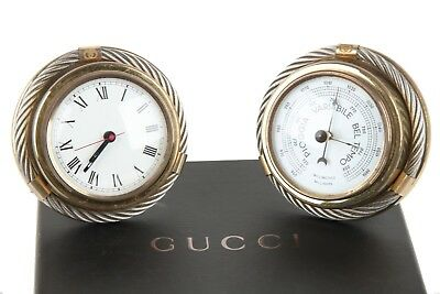 Authentic GUCCI Gold Metal/Silver Round BAROMETER CLOCK SET vintage home decor