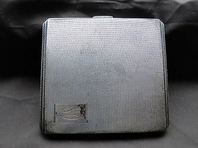 Cigarette / Card Case, Sterling Silver, Art Deco, Engine Turn, Birmingham 1941