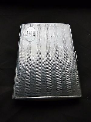 Cigarette / Card Case, Sterling Silver, Art Deco, Engine Turn, Birmingham 1928