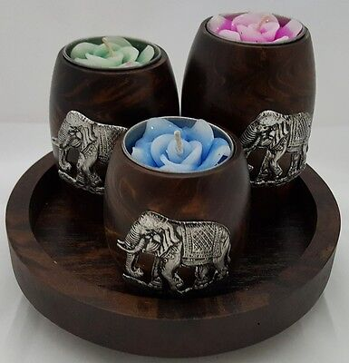 Thai Elephant Wooden Candle Tealight Romantic Tray Set Dinner Spa Bedroom Events
