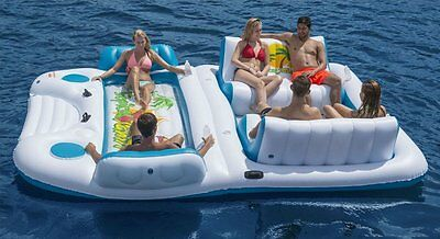 6 person Water Raft Inflatable Lounge Island Float Swim Boat Lake River Large