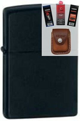 Zippo 218 black matte Lighter + FUEL FLINT WICK POUCH GIFT SET