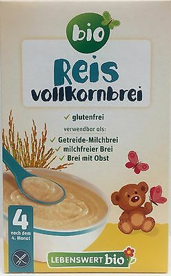Lebenswert Wholegrain Rice Porridge Organic Baby Cereal 225g FREE  MAIL