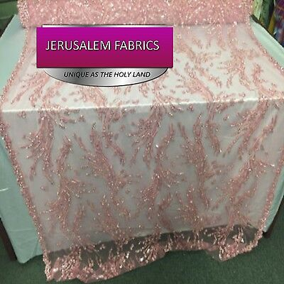 Marvelous feather bridal wedding beaded mesh lace fabric pink. Sold by the yard.