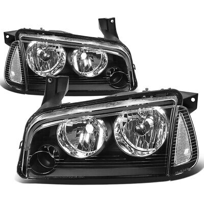 Fit 2006-2010 Dodge Charger Pair Black Houisng Headlight+Clear Turn Signal Lamp