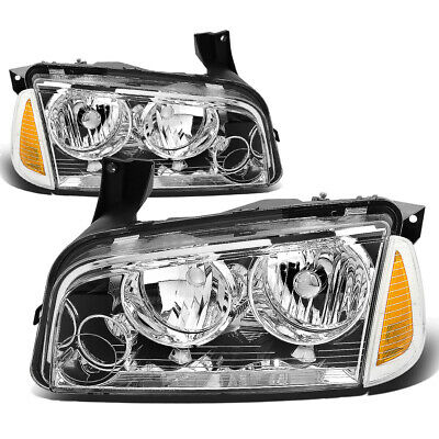 Fit 2006-2010 Dodge Charger Pair Chrome Houisng Headlight+Amber Turn Signal Lamp