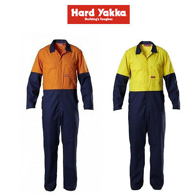 Mens Hard Yakka Foundations 2 Tone Coverall Overalls Protect Safety Work Y00445