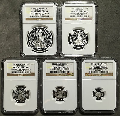* 2014 UK Britannia 5-Coin Silver Proof Set NGC PF70 Ultra Cameo, #487 of #550 *