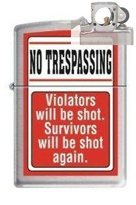 Zippo 2266 no trespassing chrome Lighter with PIPE INSERT PL