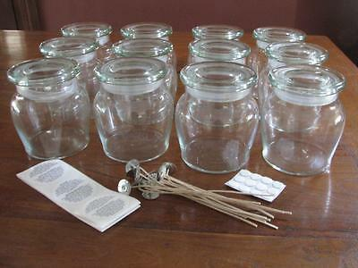 12  Large  Honey Pots  Candle Making Supplies + Wicks, Stickums, Warning Labels