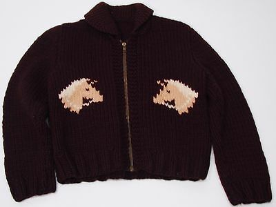 Cowichan 1960's Child's Vintage Sweater Horse Knit Detail Handmade Brown Knit