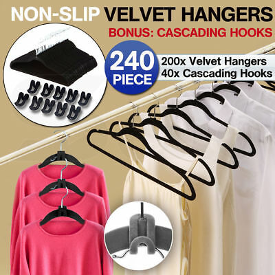 240 Pcs Black Nonslip Thin Velvet Hangers Coat Clothes Closet Space Saving Slim