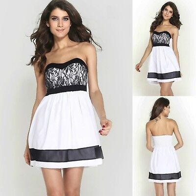 Sz 10 M White Black Skater Strapless Formal Gown Cocktail Party Sexy Club Dress